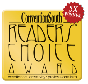 ConventionSouth Readers' Choice Award 5 Time Winner for Excellence, creativity, professionalism winner logo